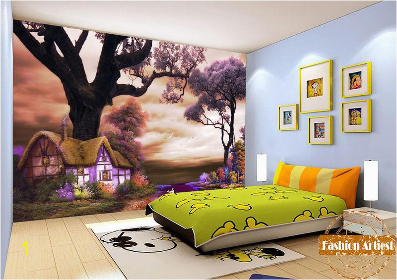 Custom kids children fairy tale wallpaper mural magic cottage in fantasy dream color forest tv sofa