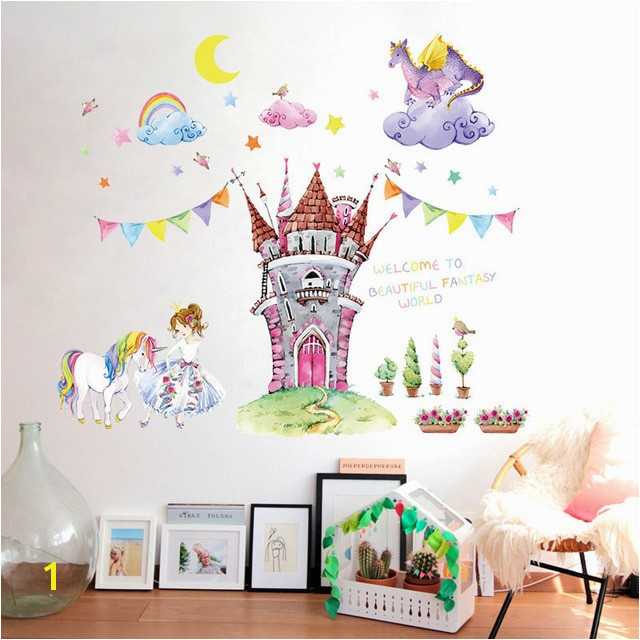 Fairy tale world castle cartoon wall stickers beautiful princess unicorn dragon clouds kids room decor girl bedroom wall decals