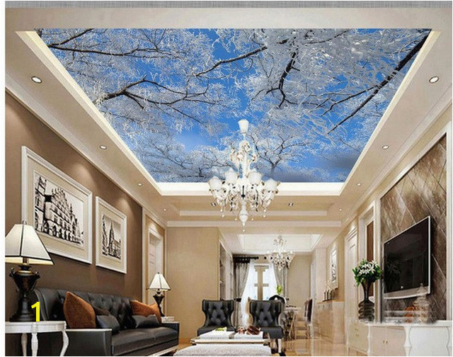 3d ceiling murals wallpaper Winter Sky Ice Tree Snowflakes Zenith Mural Home Decoration sky ceiling wallpaper