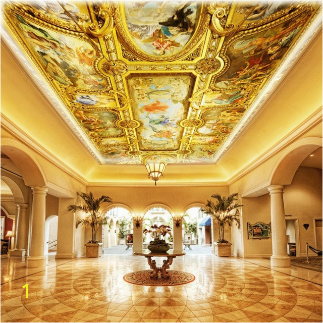 Custom 3D Wall Mural Wallpaper European Style Hotel Lobby Living Room Luxury Ceiling Mural Art Wall Painting Papel Pintado Pared