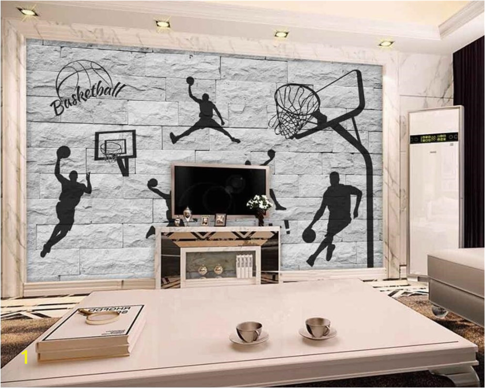 beibehang 3D brick wall hand painted basketball element wallpaper living room bedroom mural home decoration background wallpaper