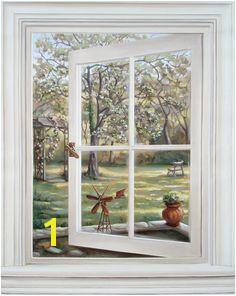 Trompe L oeil Window Mural Window Mural Door Murals Window View Attic