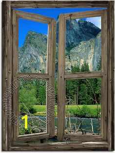 Mountain Cabin Window Mural 3 DT Faux Window Window View Window Mural