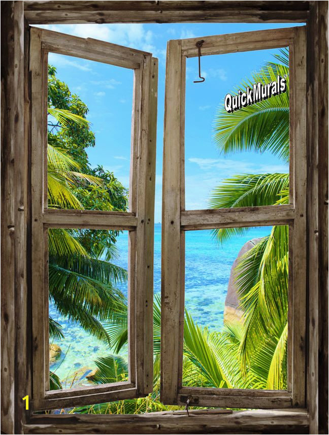 Faux Window Murals Beach Cabin Window Mural 8 E Piece Peel and Stick Canvas Wall Mural
