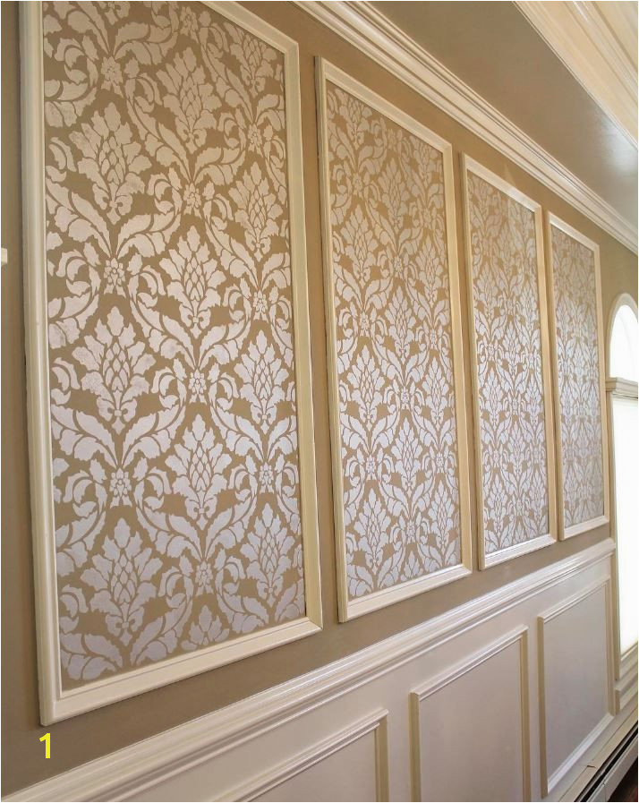 Vintage Design European Wallpaper look DIY Wall Painting in Dining Room Makeover Classic Damask Wall Stencil by Royal Design Studio pic by