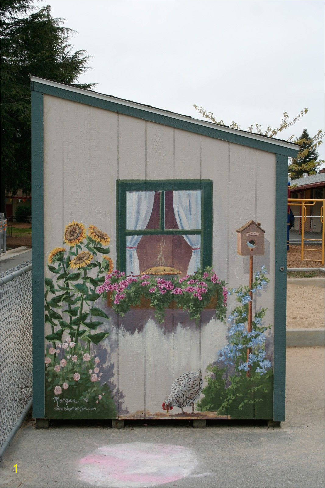 I painted this mural in the kindergarten yard of Santa Rita Elementary School in Los Altos CA I painted the shed to be sweet and whimsical to set a happy