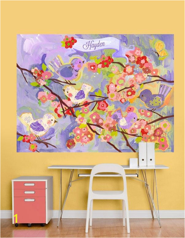 """Cherry Blossom Bir s Lavender and Coral"" by Winborg Sisters Oopsy Daisy Fine Art For Kids Wall Mural 72x54 $189"