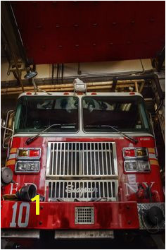 FDNY Firefighter Painting Fire house fire truck by ReburnDesigns Truck Engine Nyc Art Wall