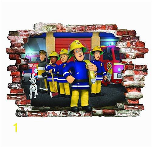 infans FIREMAN SAM WALL STICKERS KIDS BEDROOM BOYS GIRLS WALL ART MURAL WALLPAPER Size LARGE