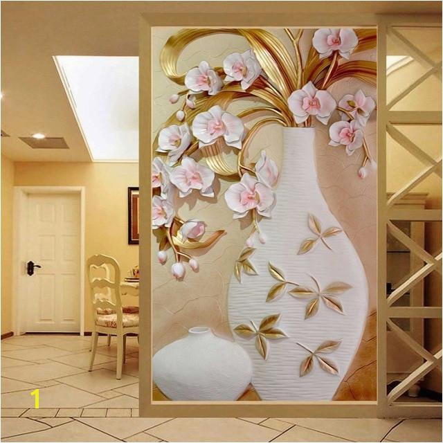 Custom 3D Mural Wallpaper Embossed Flower Vase Stereoscopic Entrance Wall Mural Designs Home Decor Wallpaper Living Room Modern