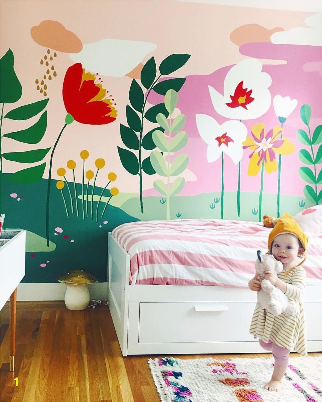 Amazing floral mural and super cute kiddo