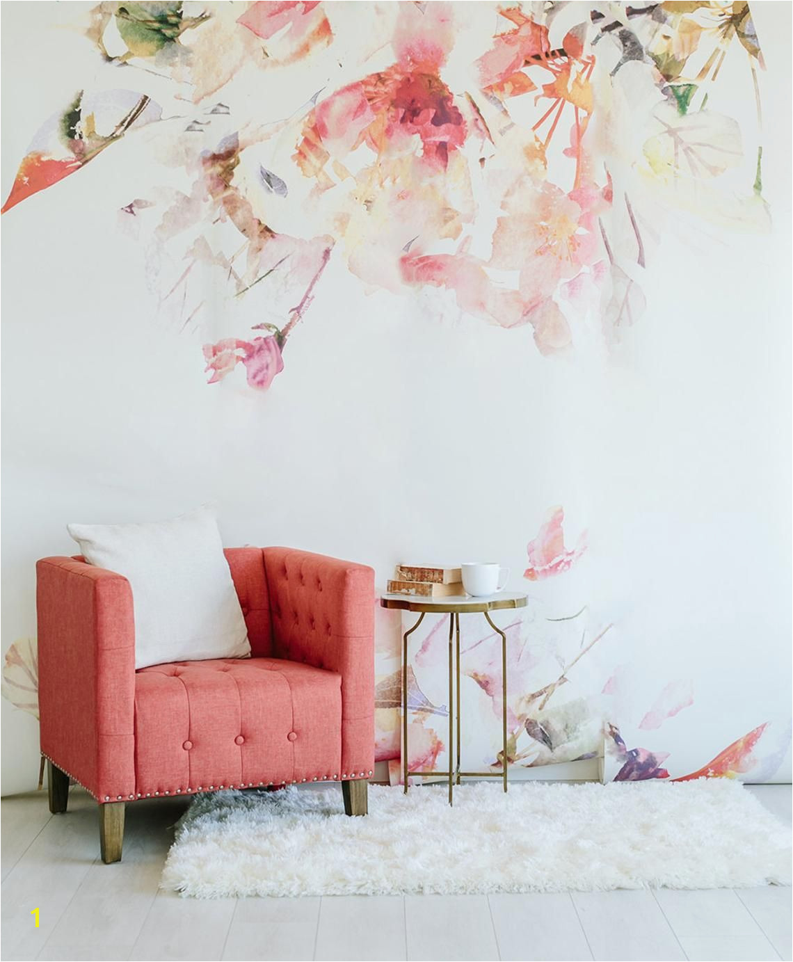 Spring Floral Wall Mural Watercolor Wallpaper