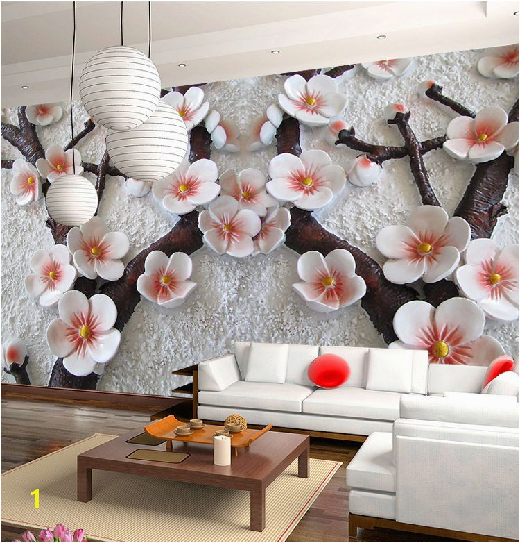 3D Mural Wallpaper Cherry Blossom Embossed Flower Wall Background Custom Size Unbranded Modernism