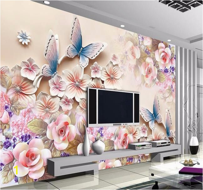 3D papel de parede Custom photo HD flowers relief 3d mural for Interior decoration wall 3d wallpaper free shipping in Wallpapers from Home Improvement on