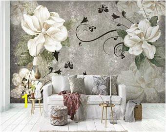 Floral Wallpaper Gardenia Flower Wall Mural Nostalgic Blossom Wall Art Black Flourish Pattern
