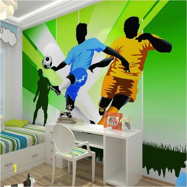 Children s Room Wall Paper Stickers Cartoon Football Wallpaper Murals 3D Kids Bedroom Self Adhesive Vinyl Silk Wallpaper
