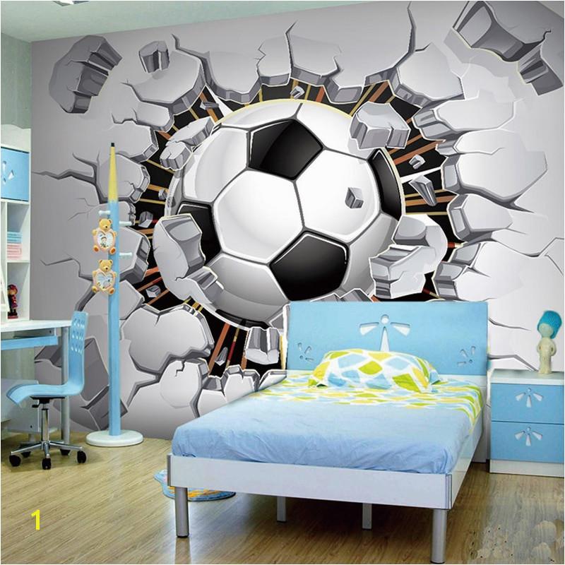 Football Murals for Bedrooms Custom Wall Mural Wallpaper 3d soccer Sport Creative Art Wall