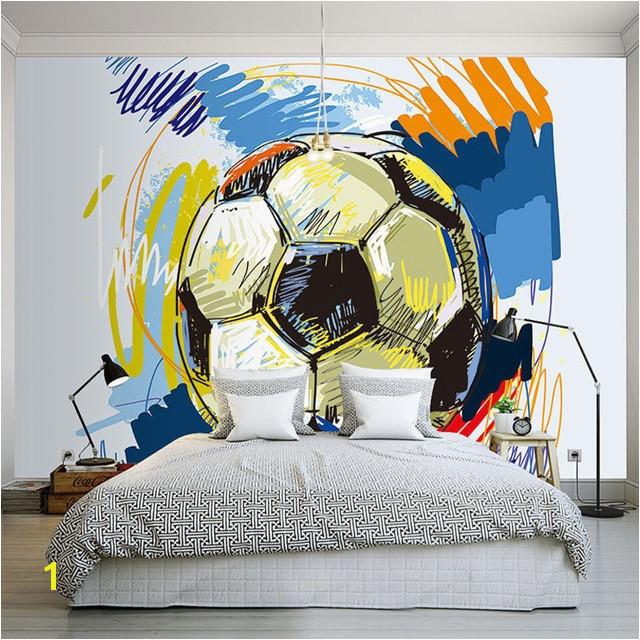 Modern Fashion Hand painted Graffiti Football Wallpaper Custom Mural Non woven Interior Wall Decoration Art Wall Painting Soccer