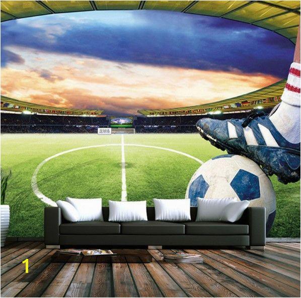 3D Soccer Field Custom Wallpaper Sports Stadium Wall Mural