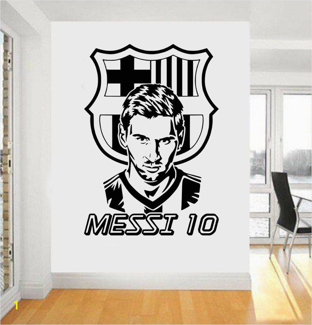 [Visit to Buy] football team logo Wall Art Sticker Messi vinyl wall sticker For Boys Room removable house decor Football Star decal