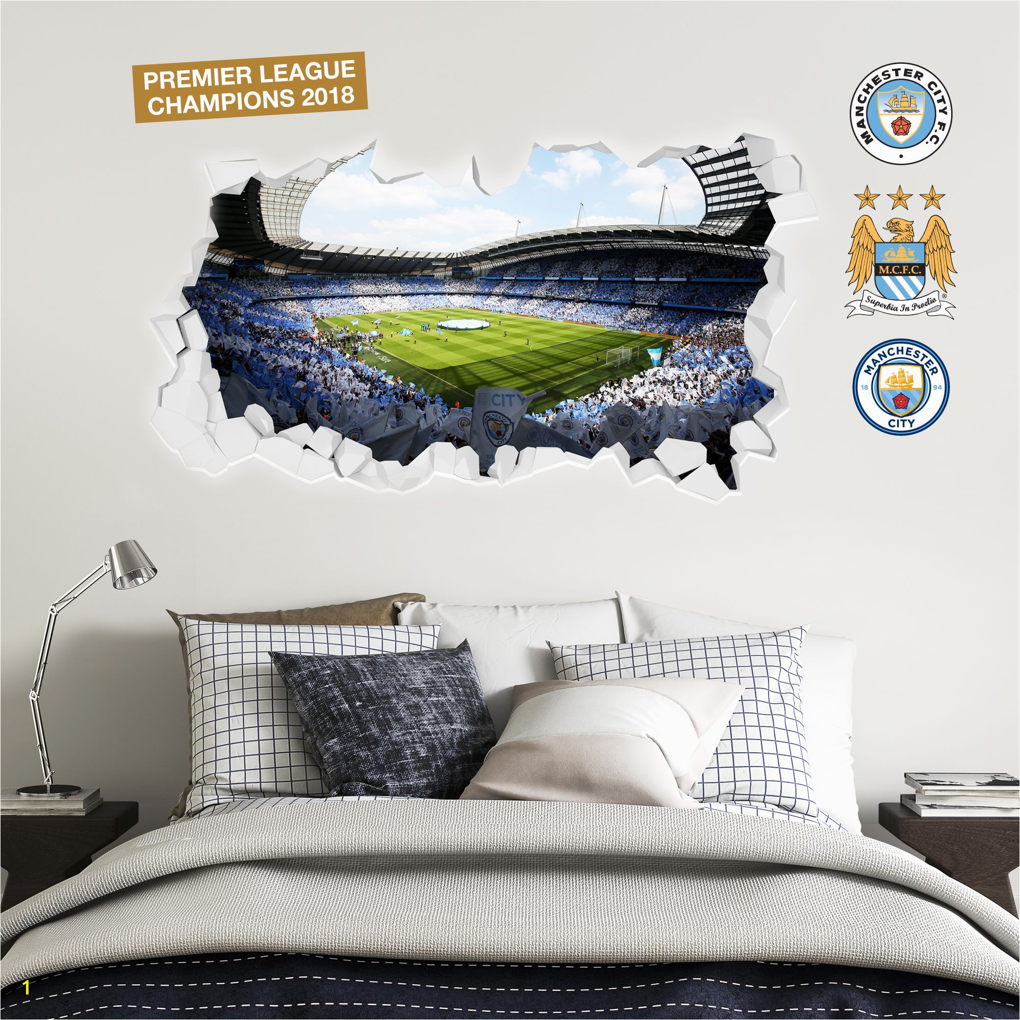 Football Wall Murals for Kids Champions Etihad Smashed Wall Stadium Corner Shot Mural Manchester