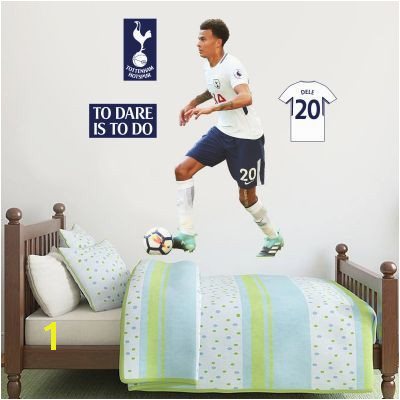Dele Alli Wall Mural & Tottenham Hotspur Football Club Crest Set wall stickers football stickers bedroom decorations kids bedroom tottenham hotspur