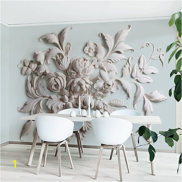 Aesthetic European Style Flower Relief TV Background Wall Painting 3D Wall Murals Wallpapers Landscape Living Room Papel Pintado