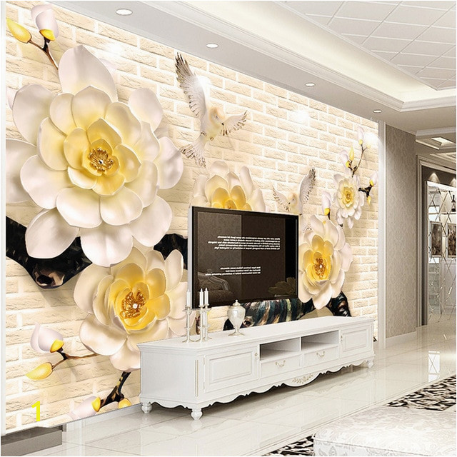 Custom 3D Wall Murals Wallpaper 3D Stereoscopic Relief Beige Flowers European Style TV Background Wall Painting Wall Paper Rolls