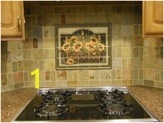 Decorative tile backsplash Kitchen tile ideas Sunflower Basket Tile Mural French Kitchen Decor
