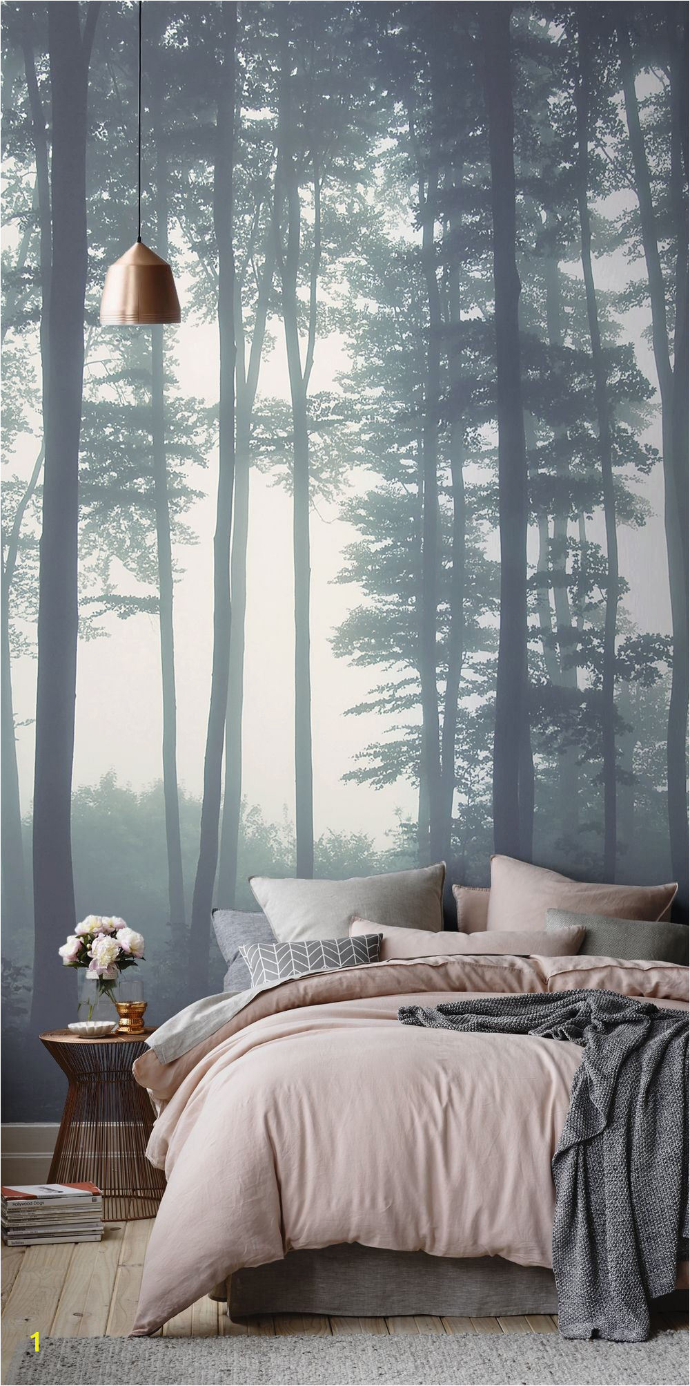 Create a dreamy bedroom interior with our Sea of Trees wallpaper mural Mesmerising steely blue tones add an air of mystery to your interiors