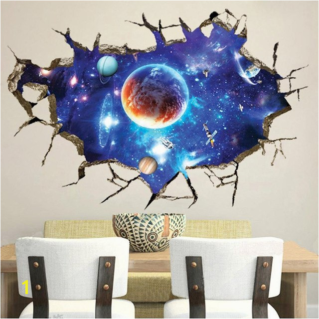 Creative Space Galaxy Stars Planets Universe 3D Wall Mural Wallpaper Eco friendly DIY Home Decor Wall Sticker