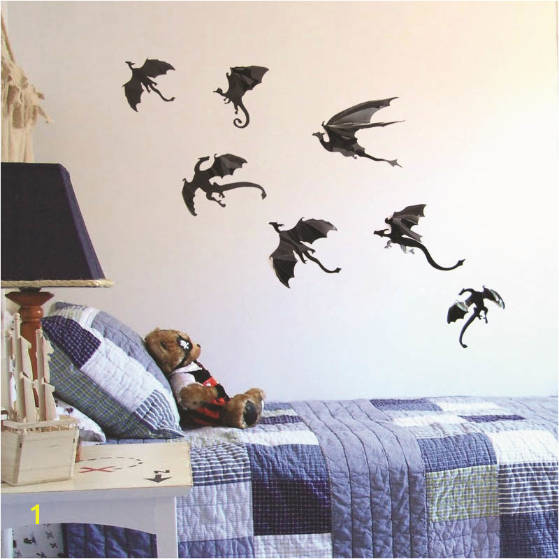 7pcs set Halloween Fantasy Decor Dinosaurs Boys Rooms Game of Thrones 3D Dragons Wall Art
