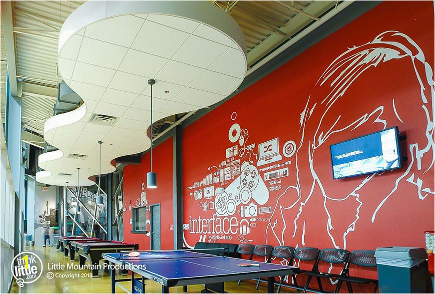 Artistic wall mural for a student center