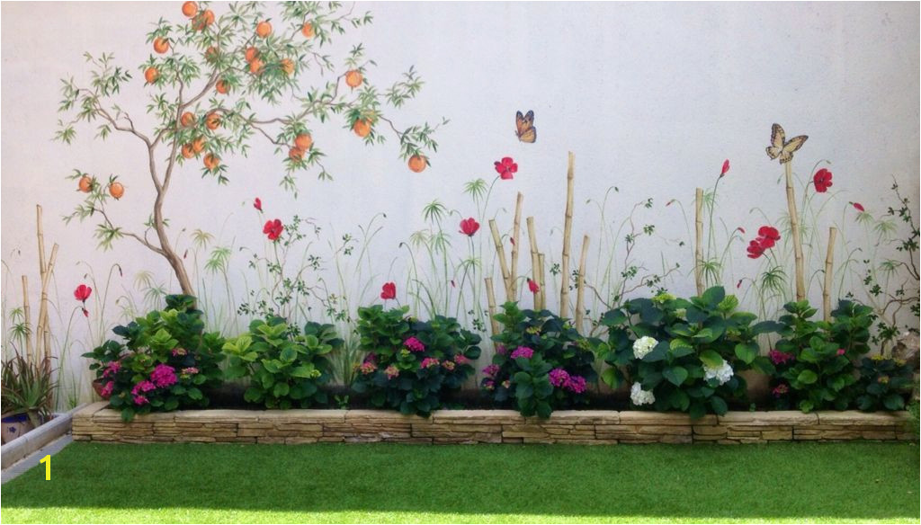 Hand painted garden Fence Painting Mural Painting Backyard