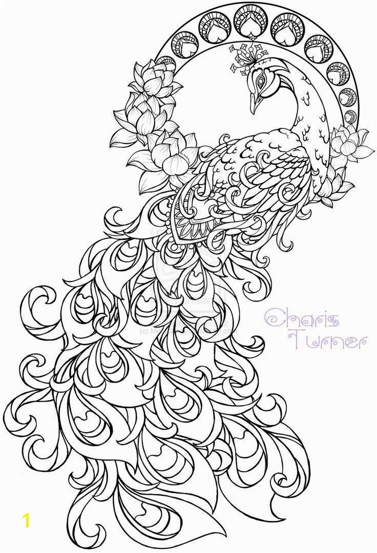 Giant Coloring Murals Realistic Peacock Coloring Pages Free Coloring Page Printable