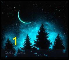 Night Sky Wall Decor Glow in the Dark Poster by StellaMurals Dark Paintings Watercolor Paintings