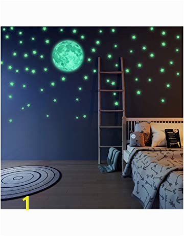 LIDERSTAR Glow in The Dark Stars and Moon Wall Stickers Beautiful Wall Decals for Bedroom