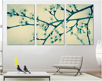 Cherry Blossom Tree 3 Panel Split Triptych Canvas Print Zen wall art for living room decoration & interior design Multi panel