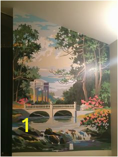 """Tranquil Garden"" 1969 paint by number wall mural Rebecca Baker Salt Lake"