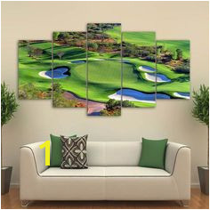 Fashion 5 Panel Golf Course Canvas Painting Modular Wall Art Prints Home Decoration Landscape For