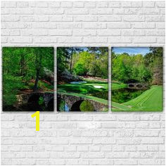 Augusta Golf Course Masters Golfing 3 Panel Wall Art Canvas Panel Print