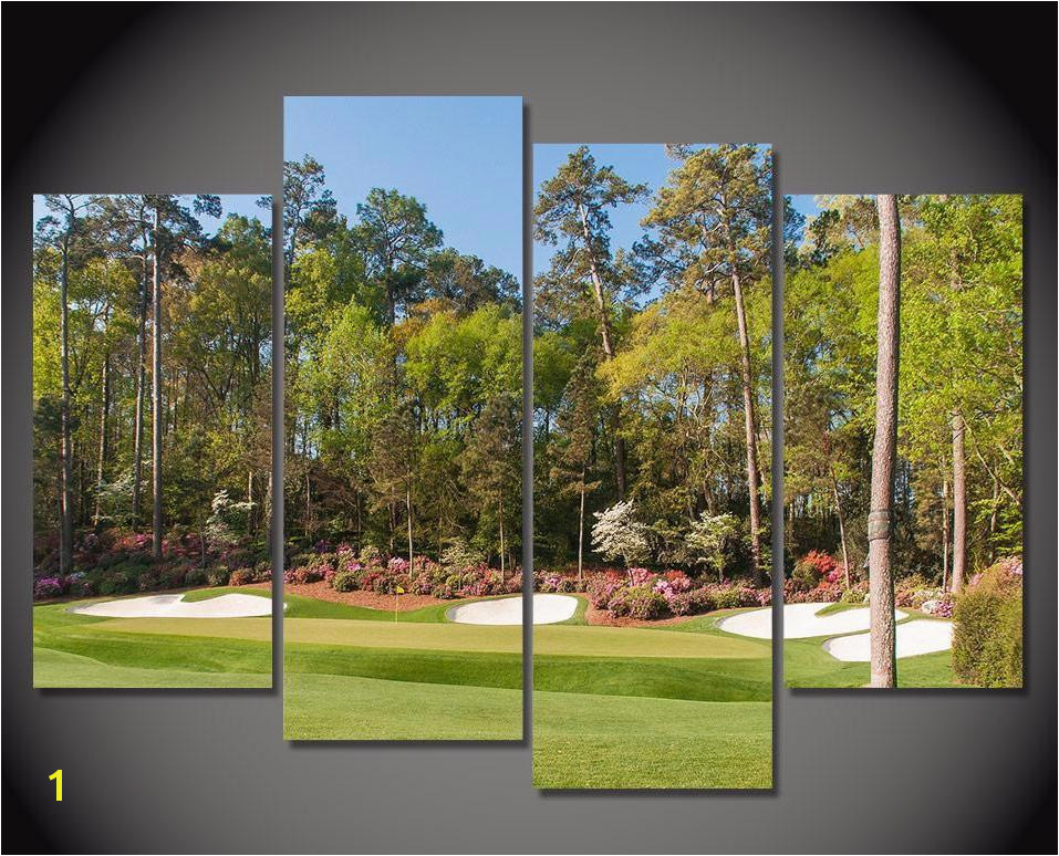 Golf Wall Murals Augusta Augusta Hole 13 Golf Course 4 Piece Framed Wall Art Canvas