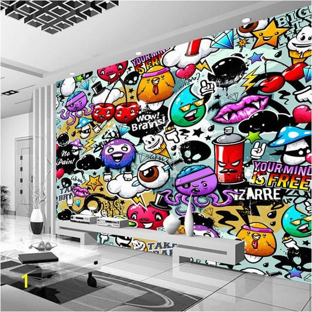 Custom Mural Wallpaper 3D Cartoon Graffiti Simple Modern Children s Bedroom Living Room KTV Backdrop Wallpaper Papel De Parede in Wallpapers from Home