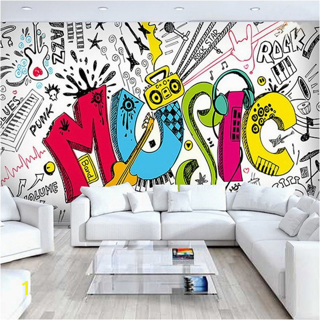 Custom 3D Abstract Rock Musical Graffiti Mural Cafe Restaurant Children s Bedroom Living Room Home Decoration Wallpaper in Wallpapers from Home