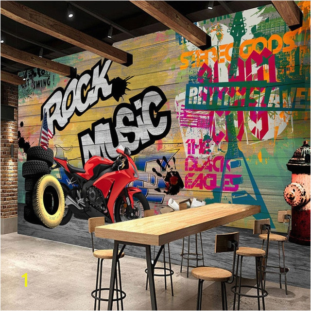 Custom Wallpaper Murals Modern Graffiti Art Motorcycle Background Decorative Wall Painting Prints Wallpaper Living Room Sofa