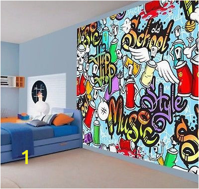 Cool kids graffiti music style hip hop school wallpaper wall mural