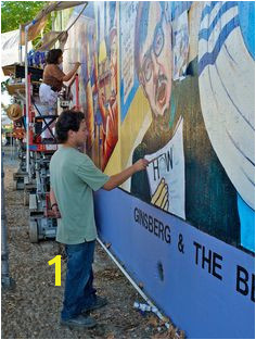 Judy Baca and others painting the Great Wall of Los Angeles