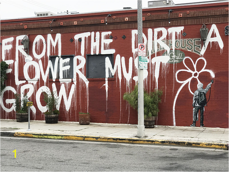 From the dirt a flower must grow mural on the side of Snake Pit bar and