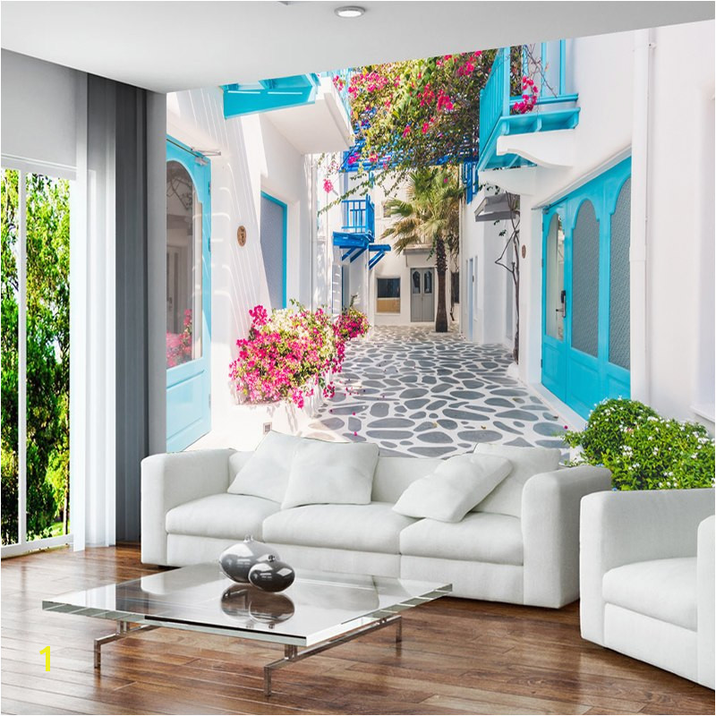 Custom 3D Mural Wallpaper Greece Santorini Love Sea Mural Wallpaper Living Room Bedroom Papier Peint Mural 3D Wall paper in Wallpapers from Home