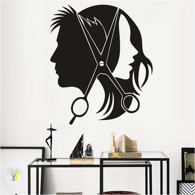 Hair Salon Wall Sticker Vinyl Decal Beautiful y Girl Man Barber Scissors Stickers For Barber Shop Wall Decals Decor Mural